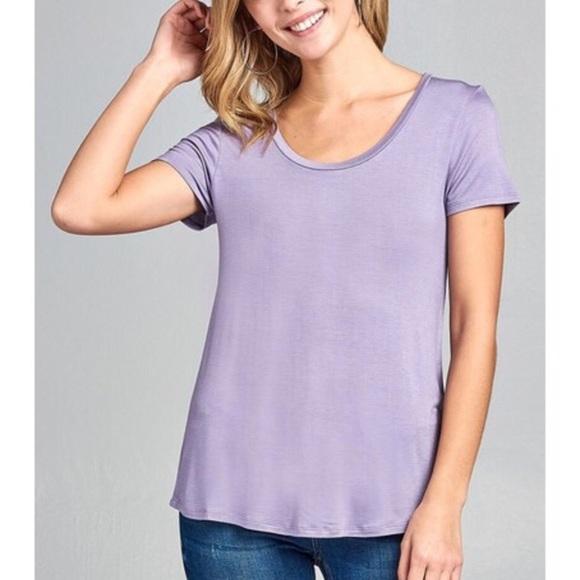a1f989f86c5 Basic scoop neck light purple short sleeve top